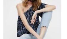 Free People NWOT Women's Ocean Avenue Single Shoulder Crop Top Blue Size S