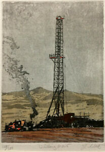 SIGNED COLOR Aquatint ~ OIL WELL DRILLING ~ John Collette AMERICAN INDUSTRY