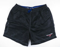 Vintage 90s Polo Sport Ralph Lauren Flag Spell Out Nylon Black Swim Trunks Large