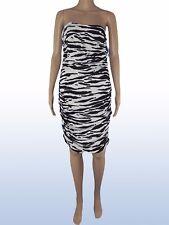 koan coin vestito ginocchio donna zebrato bianco nero taglia l large stretch