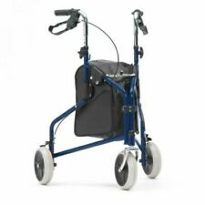 Assurance Mobility Easy Fold Tri Walker With Bag In Blue With Loop Brakes