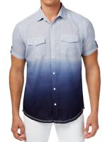 INC Mens Shirt Blue Ice Size Medium M Ombre Stitch-Stripe Button Down $65 657