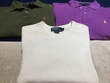 Lot ~ 2 POLO Ralph Lauren Golf Small Shirts + 1-Thermal Cotton Shirt