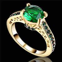 10KT yellow Gold Filled Green Emerald Luxury Jewelry Size 6 Men Women Ring