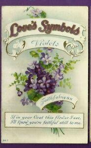 Love's Symbols embossed postcard/ Violets/ Faithfulness/ flowers/very pretty