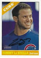 Autographed 2015 Topps Heritage #317 Tommy LaStella Chicago Cubs Tough Sig