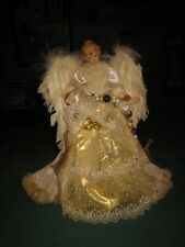 """ANGEL CHRISTMAS TREE TOPPER W/ REAL FEATHER WINGS PORCELAIN HEAD & HANDS 16 1/2"""""""