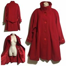 JOHN LEWIS STATEMENT RED COAT A-LINE WIDE FLARED LAGENLOOK CASHMERE WOOL UK 20