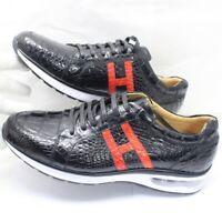 Men's Shoes Genuine Crocodile Alligator Skin Leather Handmade Black Size 11