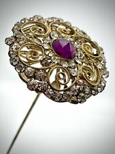 Antique Hatpin Golden Swirls Amethyst & Clear Rhinestones. Long Collectible Lady