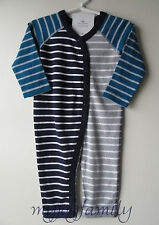 HANNA ANDERSSON Organic Cotton Snap Out Ribbie Romper Navy Grey 70 9-18 mos NWT