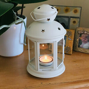 NEW Ikea Rotera White Christmas Lantern For Tea Light Candles In/Outdoor 21cm