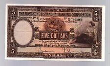 British Hong Kong Uk $5 20 2 1956 P 180 Series D/H 795266 Five Dollars Banknote