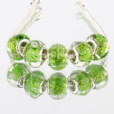 5pcs 925 silver plated MURANO glass bead LAMPWORK For European Charm Bracelet