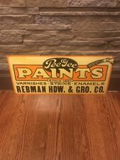 """Vintage Metal Advertising Sign """"Pee Gee Paints, Stains, Hardware, Grocery"""""""