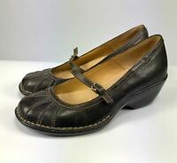 Softspots Womens Mary Jane Shoes Brown Sz 7.5 M Leather Buckle Comfort Soles