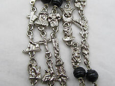 "† UNIQUE VINTAGE HTF TEACHING MYSTERIES LINKS & BLACK WODD ROSARY 32"" NECKLACE †"