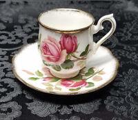 "VINTAGE 1950s Royal Albert ""Anniversary Rose"" Demitasse Tea Cup & Saucer Set"