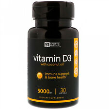 Sports Research Vitamin D3 with Coconut Oil 125 mcg (5000 IU) 30 Softgels