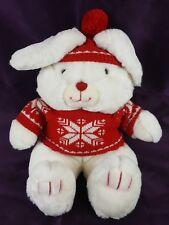 "VTG Mervyns 16"" Winter White Bunny Rabbit Plush w/Red Knit Sweater & Hat 1987"