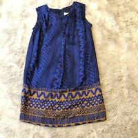 Wilt 100% Silk Dress Womens Size Small Blue Pleated Brown Abstract Sleeveless