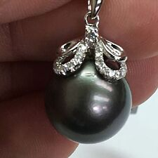 18 K White Gold Pendant With Pearl and Diamonds