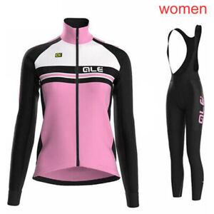 Womens Cycling long Sleeves jersey bib pants sets Road Bicycle Sportswear TS1