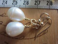 EARRINGS LARGE Pearl Artisan Made USA FW Baroque Gold Drop Dangle GOLD GF Hook