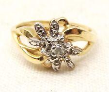 Vtg 10k Gold Diamond Ring Sz 7 Floral Flower Ornate Estate Valentines Day 2.3g