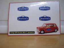 Corgi 225 Austin Mini 7 Jensen's sticker decals