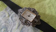 Sweet Vintage womens Avon wrist watch gothic leather band for parts repair