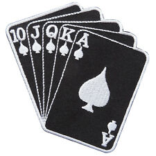 Royal Straight Flush Poker Hands Black Cards Casino Biker Iron on Patches CP026