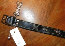 """Collar Black Leather with Medallions Dog size Large 19"""" New"""