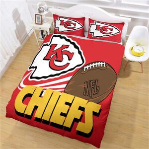 Kansas City Chiefs Bedding Set Duvet Cover Pillowcases Comforter Cover 3PCS