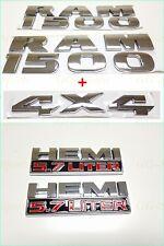 5PCS SET: Chrome Dodge RAM 1500 + 4X4 + HEMI Emblem Badge LOGO LETTERS NAMEPLATE
