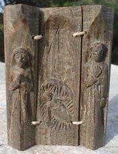 Religieux Sculpture Curiosité ingénieux ancien triptyque Nativité Bois Sculpté