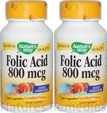 Nature's Way, Folic Acid, 800 mcg, 200 Capsules
