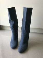 Stella McCartney 37 blue suede mid-calf slouch boots in original box/dustbag