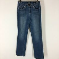 Earl jeans women's size 8 straight leg embellished pockets denim blue