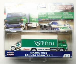 Hot Wheels Team Transport ɛ̃fini Efini Racing Mazda 787B & Sakura Sprinter Green