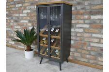 Retro Industrial Glazed Wine Cabinet Glass Holder Bottle Storage