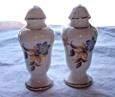 White Porcelain- Blue & Yellow Flowers Salt & Pepper Shakers Gold Trim
