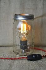 Mason Jar Table Lamp Standing Light Red Cloth Covered Twisted Cord Vintage