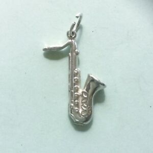 SAXOPHONE brass wind instrument - Solid 925 sterling silver music charm pendant