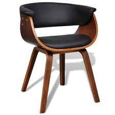 Modern Artificial Faux Leather Bent Wood Dining Chair Black Seat Kitchen Cafe