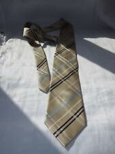 Gold polyester 'NEXT' tie with lt blue,dk blue+white diagonal crossed stripes