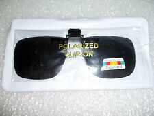 LARGE POLARIZED LENS CLIP ON GLARE BLOCK  FLIP UP SUNGLASSES GLASSES DRIVING