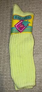 80s Vintage BAGGIES sock similar to E.G. Smith boot slouch NEON YELLOW deadstock