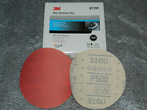 "BRAND NEW BOX 3M 01191 RED ABRASIVE HOOKIT FILM 6"" DISC P500 GRIT 50 DISCS/BOX"