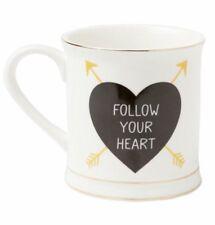 Sass & Belle Follow your heart golden arrow ceramic COFFEE TEA CHOCOLATE mug